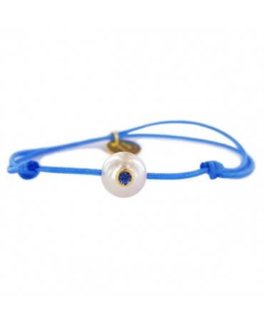 Bracelet bébé perle blanche saphir bleu - Pacific Baby