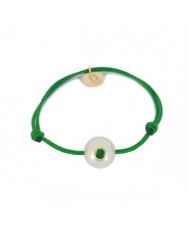 Bracelet bébé perle blanche émeraude - Lucky Baby