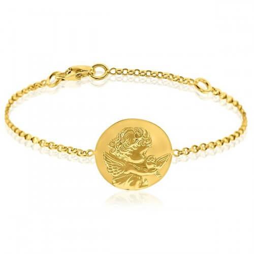 Bracelet bébé ange à la colombe or jaune - Augis