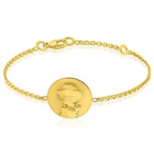 Bracelet bébé ange agenouillé or jaune - Augis