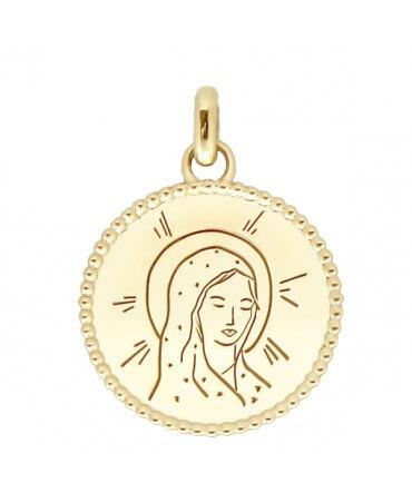 Médaille Vierge Marie perles d'or - Poinçon 22