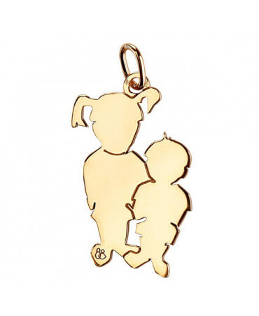 La Fa Mi : pendentif 2 enfants (or jaune)