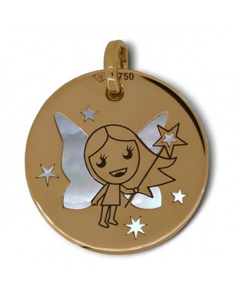Médaille fée or jaune nacre blanche - La Fée Galipette