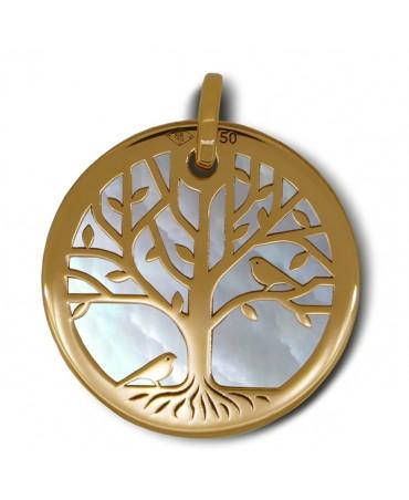 Médaille arbre de vie or jaune nacre blanche - La Fée Galipette