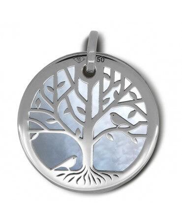 Médaille arbre de vie or blanc nacre blanche - La Fée Galipette