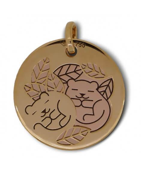 Médaille marmotte or jaune et rose - La Fée Galipette