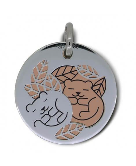 Médaille marmotte or blanc et rose - La Fée Galipette