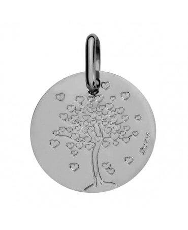 Augis : médaille arbre aux cœurs or blanc