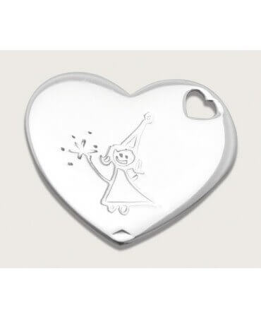 Pendentif cœur argent à graver - Les Empreintes