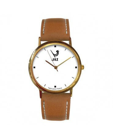montre JAZ Pragmatic blanche bracelet marron