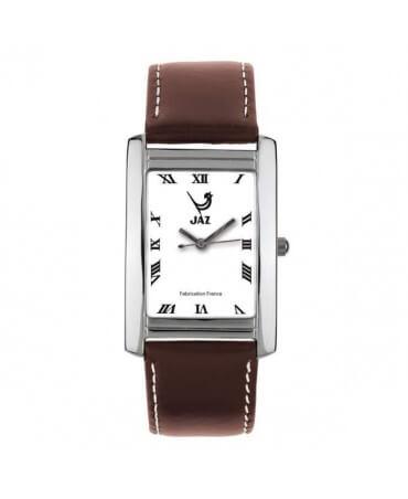 montre JAZ Simplistic blanche bracelet marron foncé