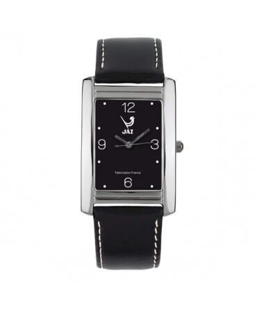 montre JAZ Simplistic noire bracelet cuir noir