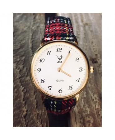 montre JAZ Algébraic blanche bracelet tartan