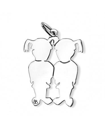 La Fa Mi : pendentif jumeaux (or blanc)