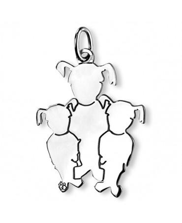La Fa Mi : pendentif 3 enfants (or blanc)