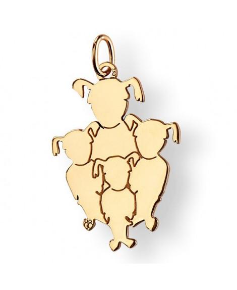 La Fa Mi : pendentif 4 enfants (or jaune)