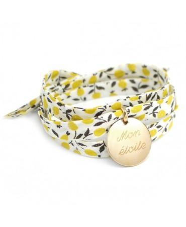 Bracelet liberty ruban médaille plaqué or