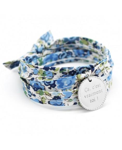 Bracelet liberty ruban médaille perlée argent