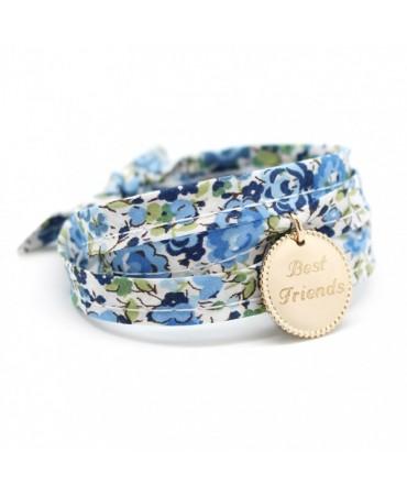 Bracelet liberty ruban médaille perlée plaqué or