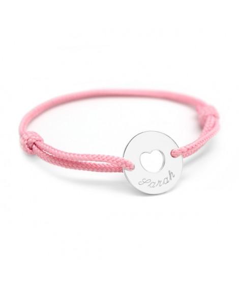Petits Trésors : bracelet mini jeton cœur argent