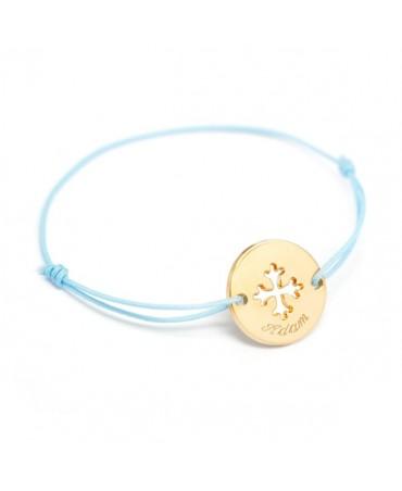 Petits Trésors : bracelet mini jeton Croix Occitane plaqué or