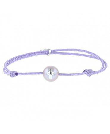 Bracelet perle et croix argent