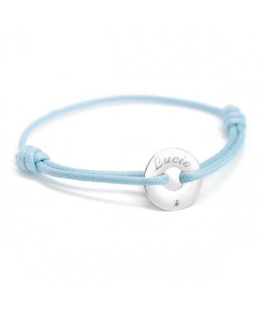 Petits trésors : bracelet mini jeton or blanc et topaze