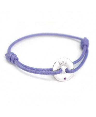 Petits Trésors : bracelet mini jeton or blanc améthyste