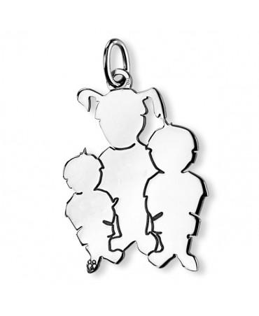 Pendentif Maman de 3 Enfants argent - La Fa Mi
