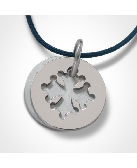 Médaille croix occitane or blanc - Mikado