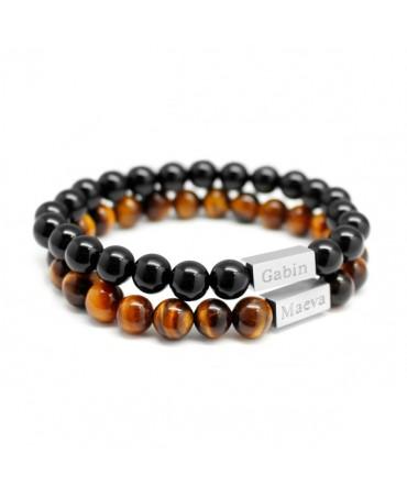 Lot de 2 bracelets perle homme à personnaliser - Petits Trésors