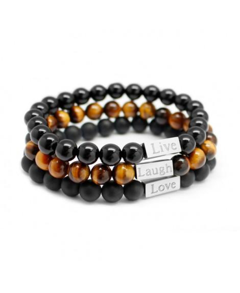 Lot de 3 bracelets perle homme à personnaliser - Petits Trésors