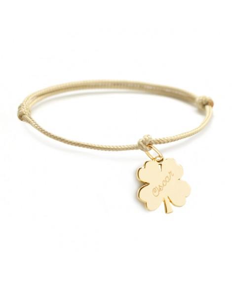 Petits trésors : bracelet lucky trèfle plaqué or