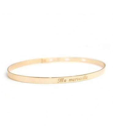 Bracelet jonc ruban plaqué or - Petits Trésors
