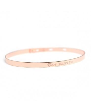 Bracelet jonc ruban plaqué or rose - Petits Trésors