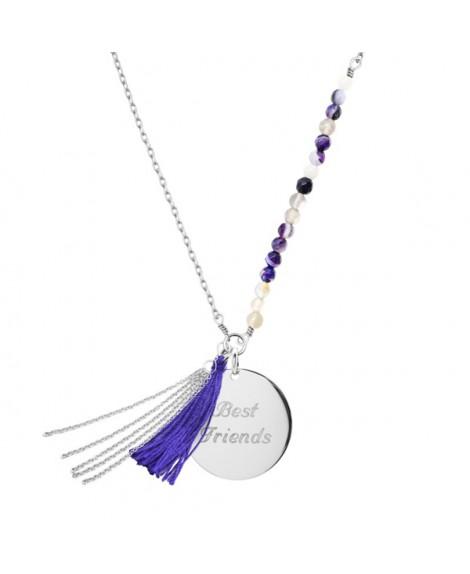 Petits Trésors : sautoir Bahia violet argent