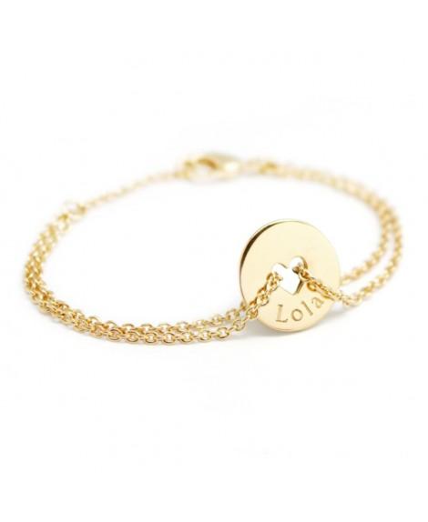 Petits trésors : bracelet poème coeur plaqué or