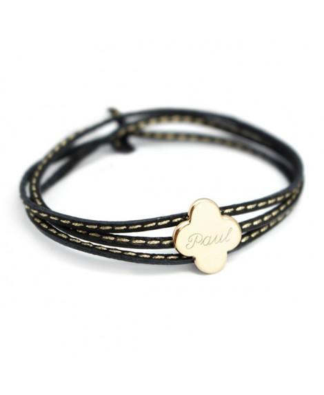 Petits trésors : bracelet amazone trèfle plaqué or