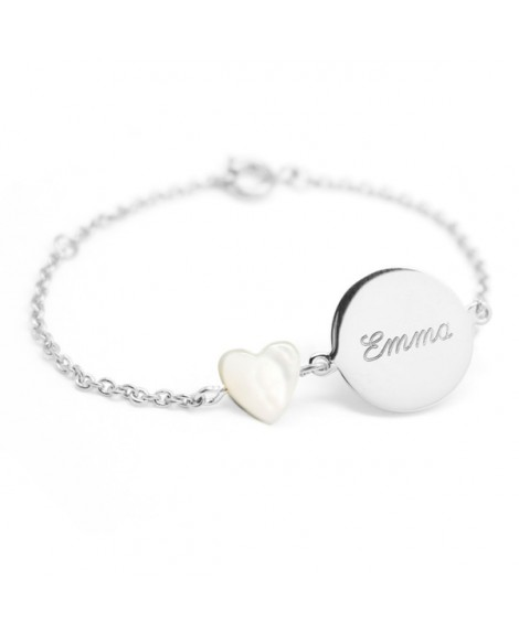 Petits Trésors : bracelet Lovely nacre cœur argent
