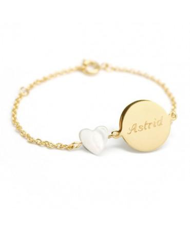 Petits Trésors : bracelet Lovely nacre cœur plaqué or