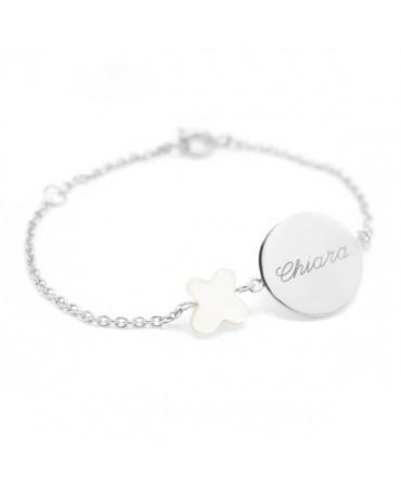 Petits Trésors : bracelet Lovely nacre papillon argent