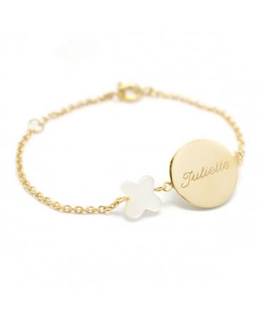 Petits Trésors : bracelet Lovely nacre papillon plaqué or