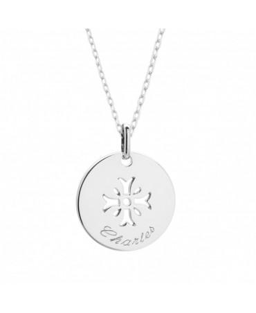 Petits trésors : pendentif croix mimosa argent