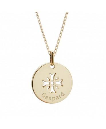 Petits trésors : pendentif croix mimosa en plaqué or