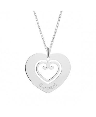Petits trésors : pendentif coeur sacré en argent
