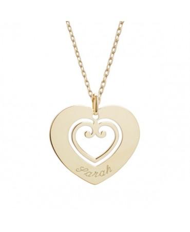 Petits trésors : pendentif coeur sacré plaqué or