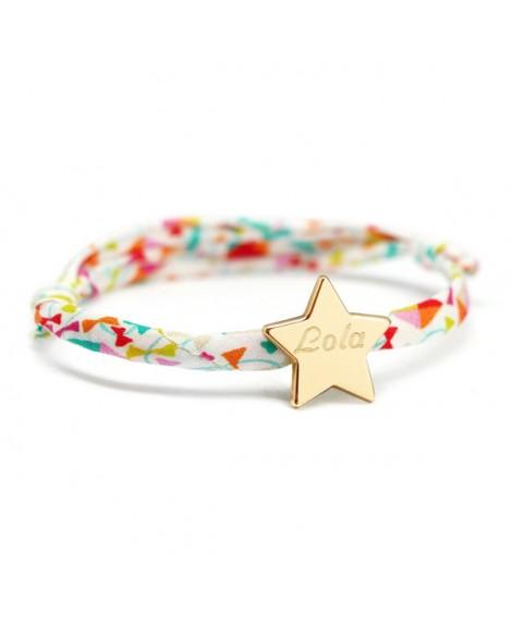 Bracelet Liberty cordon étoile plaqué or