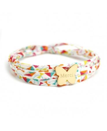 Bracelet Liberty cordon papillon plaqué or
