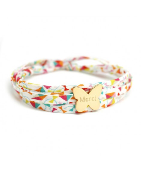 Bracelet Liberty cordon papillon plaqué or