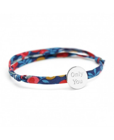 Bracelet Liberty cordon médaille ronde argent